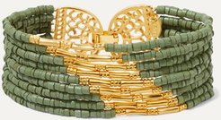Mitu Gold-plated And Ceramic Beaded Bracelet - Green