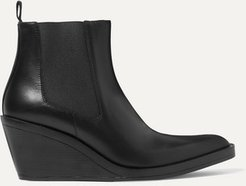 Leather Wedge Ankle Boots - Black