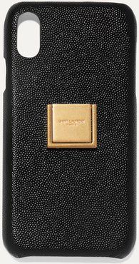 Embellished Textured-leather Iphone Xr Case - Black