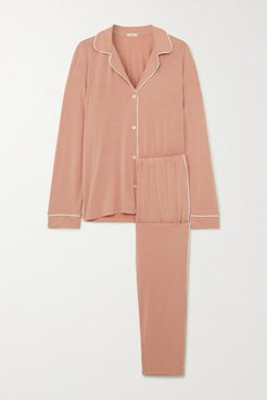Gisele Piped Stretch-modal Jersey Pajama Set - Pink