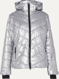 BOGNER FIREICE - Sassy2 Hooded Quilted Metallic Shell Ski Jacket - Silver