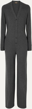 Leather-trimmed Cashmere Jumpsuit - Gray
