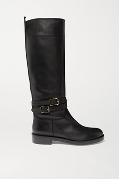 Buckled Leather Knee Boots - Black