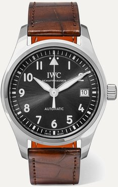 Pilot's Automatic 36mm Stainless Steel And Alligator Watch - Silver