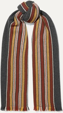 Striped Fringed Cashmere Scarf - Green