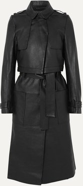Harlow Leather Trench Coat - Black
