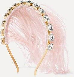 Revolution Gold-tone, Feather And Crystal Headband - Pink