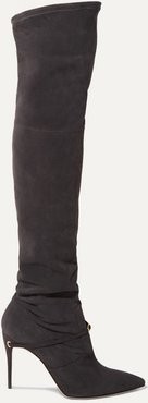 Alessandro 105 Suede Over-the-knee Boots - Dark gray
