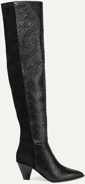 Shoreditch 70 Snake-effect Leather And Suede Over-the-knee Boots - Black