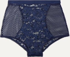 Petunia Stretch-mesh And Corded Lace Briefs - Midnight blue