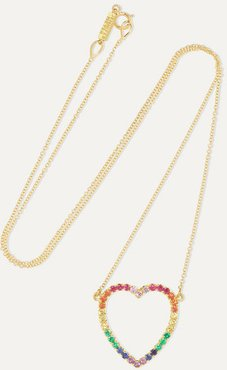 Large Open Heart 18-karat Gold Multi-stone Necklace