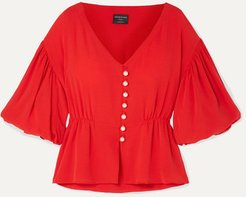 Net Sustain Faux Pearl-embellished Lyocell Top - Red