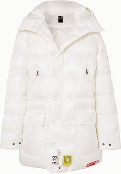 R13 Hooded Quilted Shell Down Parka - White