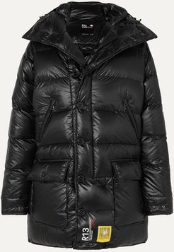 R13 Hooded Quilted Shell Down Parka - Black