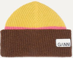 Ribbed Striped Wool-blend Beanie - Lime green