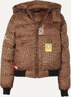 R13 Hooded Leopard-print Shell Down Bomber Jacket - Brown