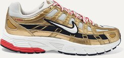 P-6000 Metallic Leather And Mesh Sneakers - Gold