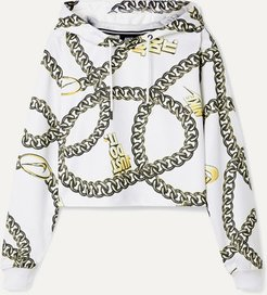Glam Dunk Cropped Printed Tech-jersey Hoodie - White