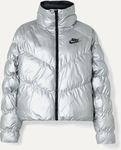 Quilted Padded Metallic Shell Jacket - Silver