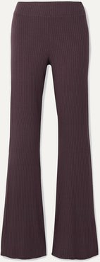 Angelique Ribbed Stretch-jersey Flared Pants - Grape