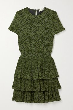 Lilly Ruffled Tiered Floral-print Crepe Mini Dress - Army green