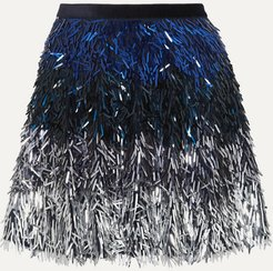 Alice Olivia - Cina Dégradé Sequined Tulle Mini Skirt - Navy
