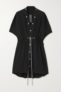 Sail Tie-detailed Cotton-poplin Mini Dress - Black