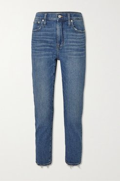 Cropped Distressed High-rise Slim-leg Jeans - Light denim