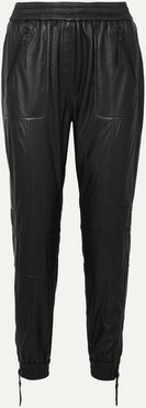 Tapered Leather Track Pants - Black