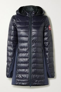 Hybridge Lite Jersey-trimmed Hooded Quilted Ripstop Down Coat - Midnight blue
