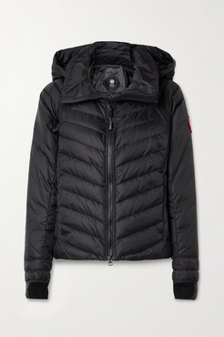 Hybridge Base Jersey-trimmed Hooded Quilted Shell Down Jacket - Black
