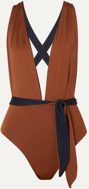 The Domino Reversible Swimsuit - Brown