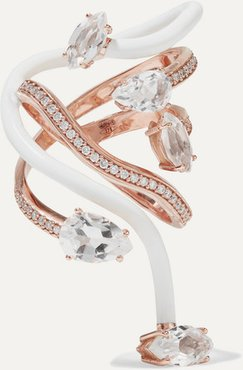 You're So Vine 9-karat Rose Gold, Enamel, Rock Crystal And Diamond Ring - White