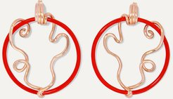 Vine 9-karat Rose Gold And Enamel Earrings - Red