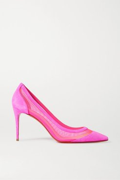 Galativi 85 Neon Suede And Mesh Pumps - Pink