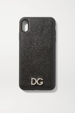 Crystal-embellished Textured-leather Iphone Xs Max Case - Black