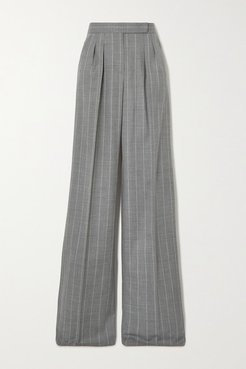 Congo Pleated Pinstriped Wool-blend Wide-leg Pants - Gray