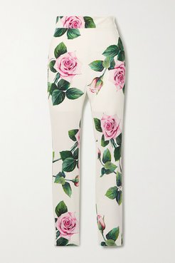 Floral-print Cady Skinny Pants - White