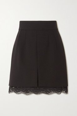 Chantilly Lace-trimmed Stretch-wool Mini Skirt - Black