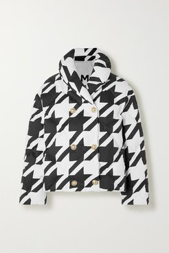 Button-embellished Houndstooth Quilted Shell Down Jacket - Black