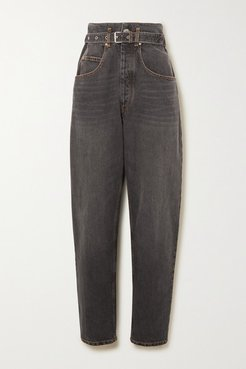 Gloria Belted High-rise Tapered Jeans - Black