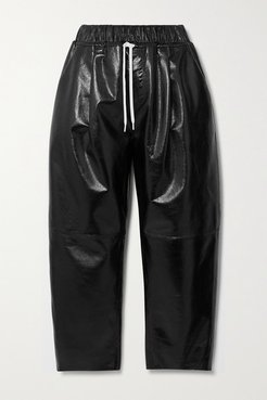 Textured Patent-leather Wide-leg Pants - Black