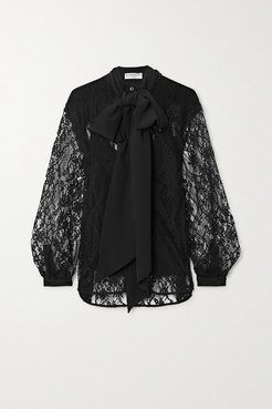 Pussy-bow Cotton-blend Lace And Silk Crepe De Chine Blouse - Black