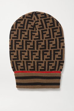 Intarsia Cashmere And Wool-blend Beanie - Brown
