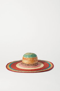 Striped Straw Sunhat - Red