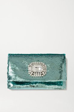Titania Crystal-embellished Sequined Satin Clutch - Green