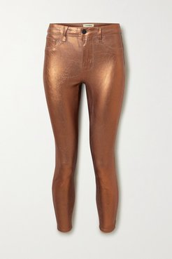 Margot Cropped Metallic Coated High-rise Skinny Jeans - Bronze