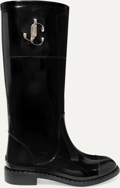 Edith Logo-embellished Faux Patent-leather Rain Boots - Black