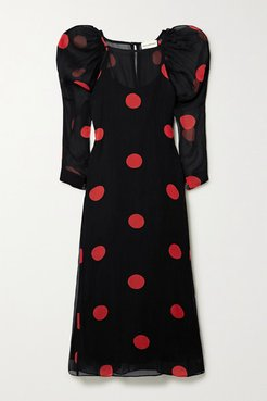 Net Sustain Elisabetta Polka-dot Tencel Lyocell Midi Dress - Black