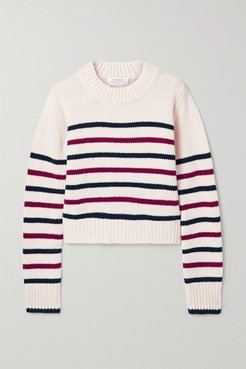 Mini Marin Striped Wool And Cashmere-blend Sweater - Ivory
